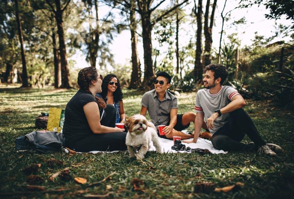 ludzie rozmawiający przy psie