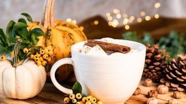 Kubek jesiennej herbaty z dyniami w tle.